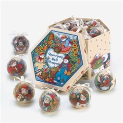 Country Snowman Boxed Christmas Ornament Set of 6